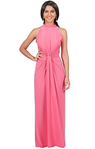 KOH KOH® Plus Size Damen Ärmelloses Maxikleid Elegante Geknöpfte Cocktail Wunderschön, Farbe Pink, Größe XL / Extra Large (Cute Kostüme Maid)