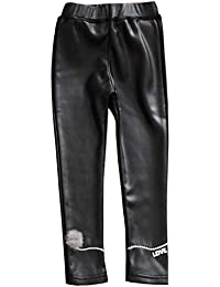 616e57079b39f LPATTERN Enfant Garçon Fille Legging Cuir Épais Stretch Collants Taille  Élastique Pantalon Thermique