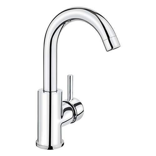 baliv WT-240 Waschtischarmatur verchromt   Wasserhahn mit Pop-up Ventil und extra leichter Montage