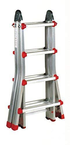 Escalera Articulada Telescópica Plegable 4+3 en 2 Tramos Profesional de Aluminio. Escada Articulada...