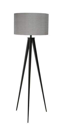 Moderne Tripod Stehleuchte (Zuiver 5000800 Floor Lamp Tripod, Metall, schwarz / grau)