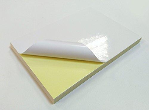 Lot de 50 feuilles de papier d'impression autocollantes, format A4, blanc brillant