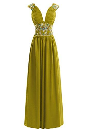 Sunvary guaina con scollo a V, in Chiffon con perline Sbuffi abiti da sera o da cerimonia, con diamanti GreenYellow