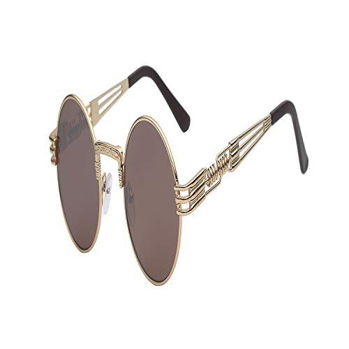Vikimen Sportbrillen, Angeln Golfbrille,Gothic Steampunk Sunglasses Men Women Metal Wrapeyeglasses Round Shades Brand Designer Sun Glasses Mirror High Quality UV400 Gold w brown