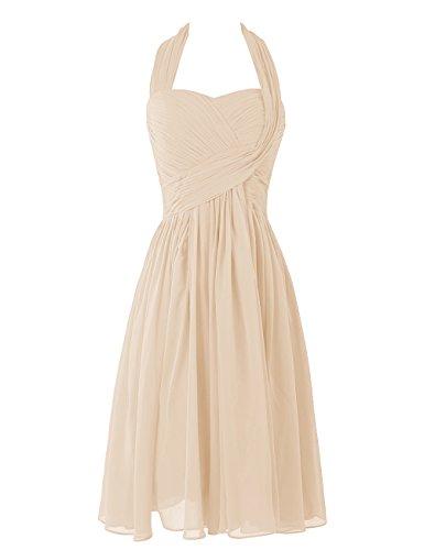 Dresstells, A-ligne robe mousseline de demoiselle d'honneur robe de soirée de cocktail longueur au genou Champagne