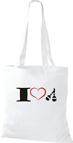 Shirtstown Pochette en tissu Musique I Love Maracas Blanc - Blanc