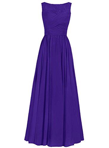 JAEDEN Femmes Robes de demoiselles d'honneur Longue Robes de bal Mousseline de soie Robe de soir¨¦e Robe de f¨ºte Violet