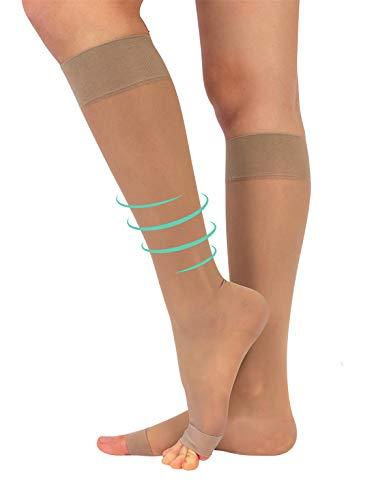 Zehenfreie Stützstrumpfe mit Starker Abgestufter Kompression 18-22 mm/Hg | Kompressionsstrümpfe Open Toe | Schwarz, Hautfarbe | S/M, L/XL | 140 DEN | Made in Italy (Hautfarbe, L/XL) Open Toe