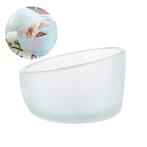 Dldl ciotola per gatti in vetro, vetro borosilicato alto/processo di glassatura/grande capacità 750ml / design per pendenza simplicity water bowl pet bowl 16 * 10cm cornice in legno,glassbowl