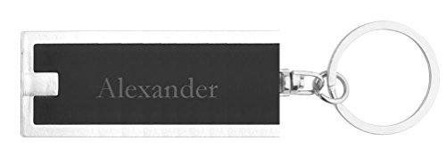 Personalisierte LED-Taschenlampe mit Schlüsselanhänger mit Aufschrift Alexander