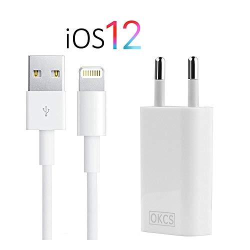 OKCS iPhone Ladegerät - USB Lightning Ladekabel 1 Meter + Netzteil für iPhone XR, XS, XS Max, X, 8, 8 Smidgen, iPad 4, Pro, Mini, 2 - in weiß