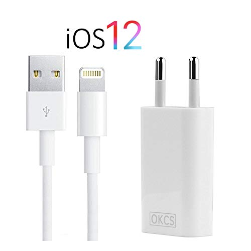 OKCS iPhone Ladegerät - USB Lightning Ladekabel 2 Meter + Netzteil für iPhone XR, XS, XS Max, X, 8, 8 About-coming reciprocity, 7, 7 Asset, iPad 4, Pro, Mini, 2 - in weiß