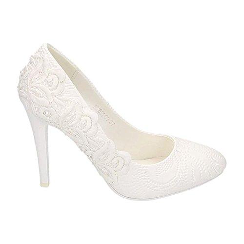 Damen Brautschuhe Hochzeit Pumps Weiß Strass Nieten Stilettos Elegant High Heels Plateau Abend Schuhe Bequem Weiß 09