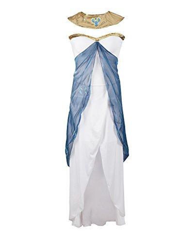 Costume de Cléopâtre par Emma's Wardrobe - Inclut : robe blanche sans manches, ceinture, tour de cou et coiffe - Déguisement déesse grecque ou Égyptienne pour halloween - Excellente qualité - Tailles 42