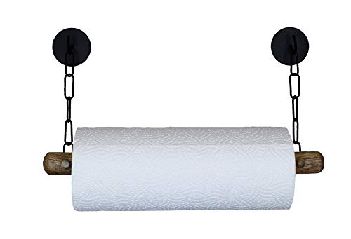 DEKAZIA® Küchenrollenhalter ohne Bohren Holz | Selbstklebend & Extrem Fest | Papierrollenhalter für Wand | Wandrollenhalter | schwarz -