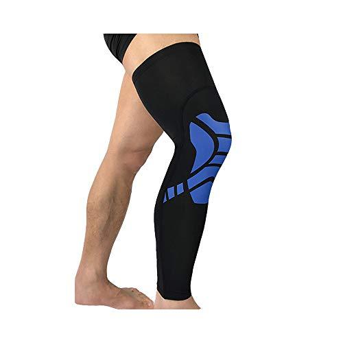 Compresión BaronHong, pierna completa, transpirable, muslo, pantorrilla, para deportes (azul, XL)