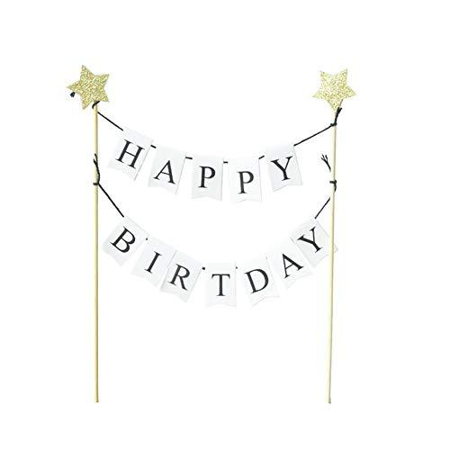 Mysticall Happy Birthday Cake Topper mit Bunting Banner Alles Gute zum Geburtstag für Baby Shower Party Dekoration Lieferungen