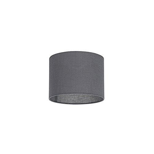 QAZQA Modern Polyester Lampenschirm 20/20/15 Zylinder dunkle-grau, Rund gerade Schirm...
