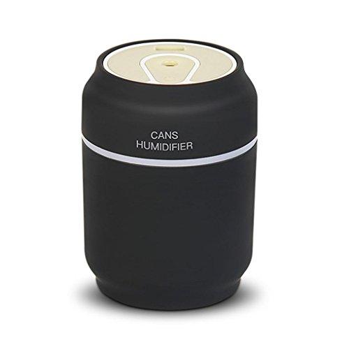 Difusor de Aceites Esenciales,STRIR 200ml 3 en 1 USB LED Ultrasonic Air Cans Humidificador Essential Aroma Difusor de aceite Atomizer + Fan (Negro)