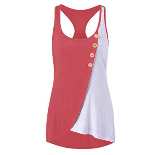 Unterhemd Camisoles Damen Rundhals-Button Ärmellos Kontrast Stitching Tank Tops(Hot Rosa,2XL) ()