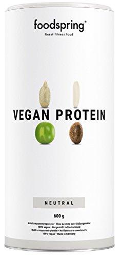 foodspring Vegan Protein Pulver, Neutral, 600g, Veganes Mehrkomponentenprotein zum Muskelaufbau, Unter höchsten Qualitätsansprüchen in Deutschland hergestellt