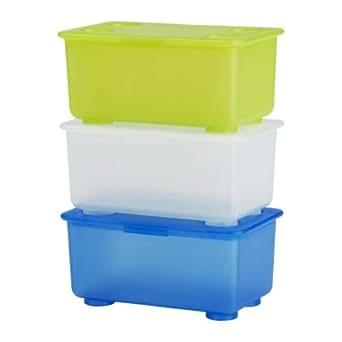 Ikea 5054186141243 GLIS Lot de 3 Boîtes avec Couvercle Plastique Multicolore 17 x 10 x 8 cm ...
