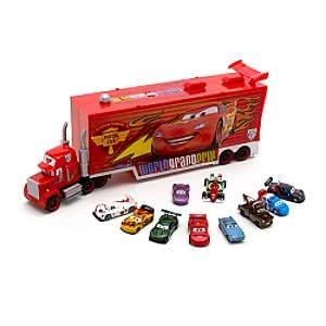 "Disney Pixar Cars ""2"" Mack Transporter & 10 Die Cast Cars"