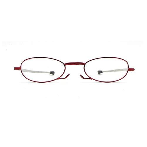 JJZXPJ Eye-Pocket Faltbare Lesebrille Presbyopisch Brilleunisex-Brille Antenne Klapp-Brille Brille Tragbare Antenne Teleskopbeine Schleuderbrille (Farbe : Red, Size : 150 Degrees) (Sonnenbrille Leser 150)