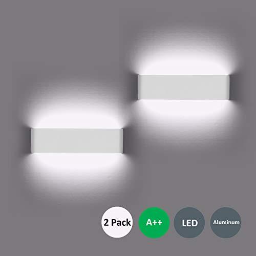 Wandleuchte LED Innen 2 Stücke Wandleuchten 12W Wandlampe mehr Hell Moderne Wandbeleuchtung Perfekt für Schlafzimmer, Wohnzimmer, Treppen und Badezimmer Licht, Kaltes Weiß -