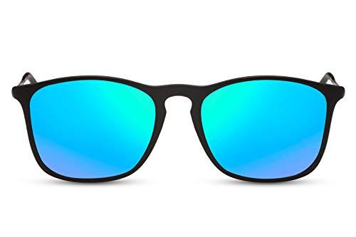 Cheapass Sonnenbrille Recht-Eckig Verspiegelt Schwarz Blau-Grün UV-400 Dünne Metall-Bügel Sport Damen Herren