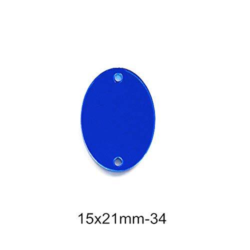 PENVEAT 50pcs Spiegel Blau Strass Näh-Acryl Unregelmäßige Spiegel Sapphire Näh-Strass Strass für Schuhe Bekleidung B3560, P34-15x21mm -