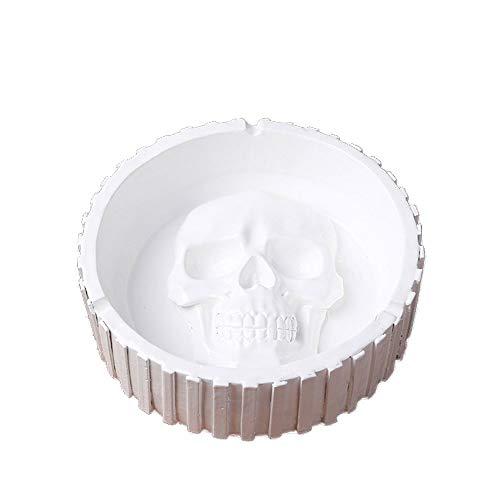 LQ-YANHUIGANG Menschlicher Schädel-Aschenbecher Geeignet Für Handwerk/Ornamente/Geschenke/Wohnzimmer/Schlafzimmer/Büro/KTV (Color : White (Buy one get one Free), Size : 14.5CM)