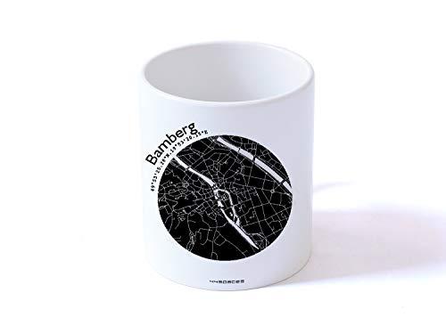 Tasse Henkeltasse BAMBERG Stadtplan 5 Farben, hochwertiger Henkelbecher Geschenktasse Kaffeebecher Kaffeetasse, kleines persönliches Geschenk für viele Gelegenheiten von 44spaces