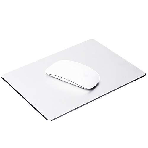 ProElife Tappetino per mouse in alluminio premium, per Magic Mouse Apple, Microsoft Logitech TeckNet Razer, Metal Mouse Pad-Rectangle-Silver Color, tappetino per il mouse