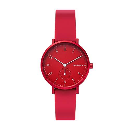 Skagen Unisex Erwachsene Analog Quarz Uhr mit Silikon Armband SKW2765