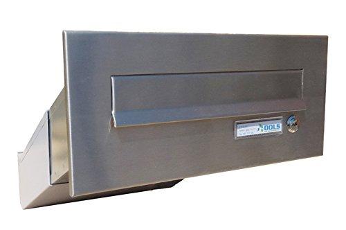 D-041 - Edelstahl Mauerdurchwurf Briefkastenanlage (variable Tiefe) mit Klingel und Namensschild - Letterbox24.de