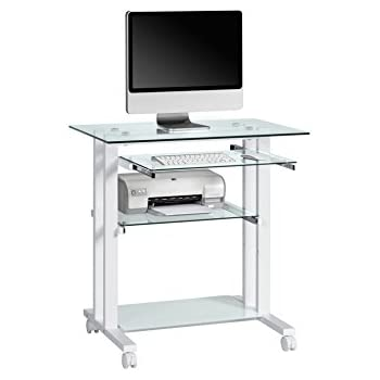 Computertisch glas  Maja 16509799 Computertisch, 800 x 837 x 510 mm, Metall weiß ...