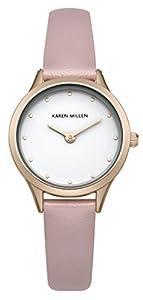 Karen Millen PU SKM001P - Reloj de cuarzo para mujeres con esfera blanca y correa rosa de cuero de Karen Millen