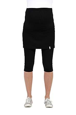 Be! Mama Umstandsleggings mit Rock, hochwertige Baumwolle, Modell PENTI - schwarz, 3/4, SM