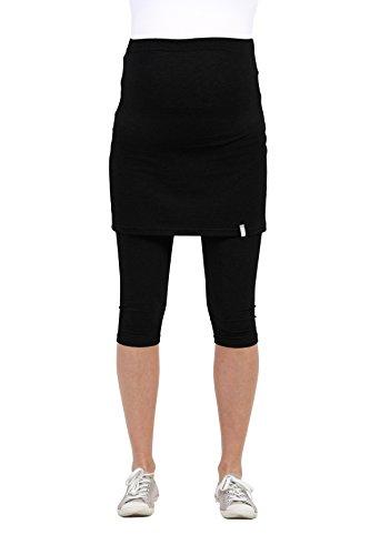 Be! Mama Umstandsleggings mit Rock, hochwertige Baumwolle, Modell PENTI - schwarz, 3/4, XL