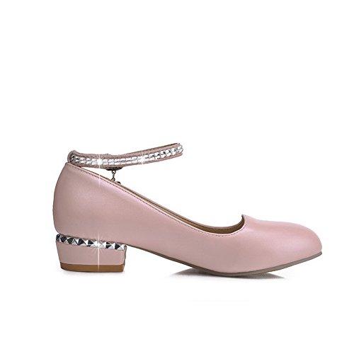 AllhqFashion Femme Zip à Talon Haut Pu Cuir Couleur Unie Rond Chaussures Légeres Blanc