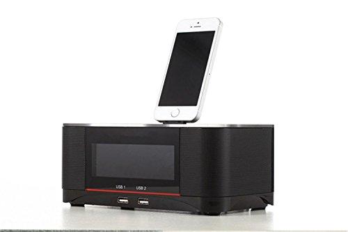 Iphone 6 Plus Alarm Dock (Mettime Clock Radio Dock Lautsprecher Bluetooth Alarm Ladestation FM Radio Dock Ladegerät und Lightning Port Unterstützung iPhone / iPod5 Gen 6 / iPad mini / touch , black)