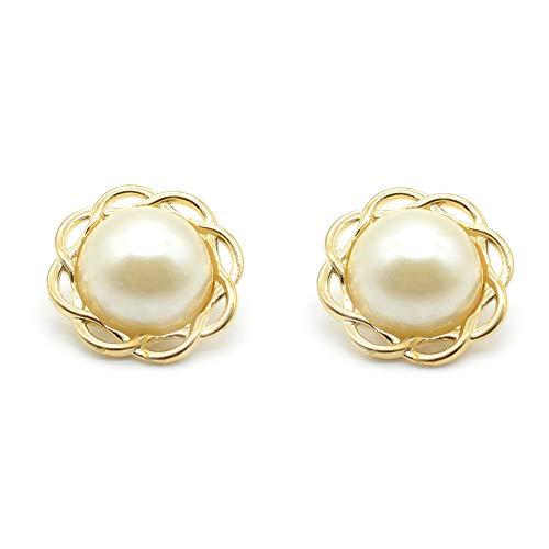 12 Stück Blumen-Form Perlen Flache Rückseite Metall Knöpfe mit Schaft zum Annähen auf...