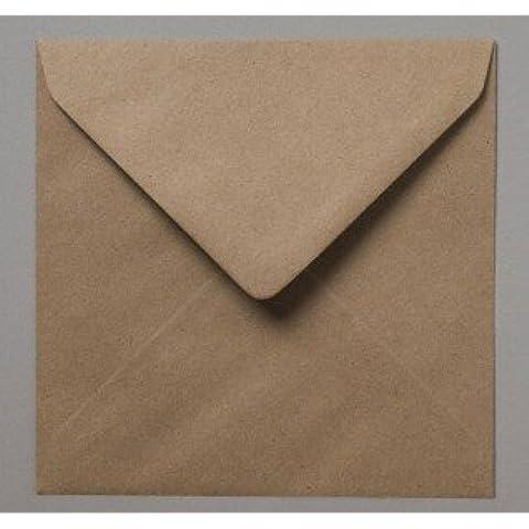 Pack de 100sobres cuadrados lisos de papel kraft reciclado, 15,5 x 15,5 cm, color marrón