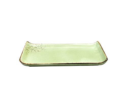 BBQ-Platte Vorspeisenplatte |Grillplatte | NATURE COLLECTION | Steinzeug | GREEN - Grün | 33 * 16,5 cm - Bbq Grillplatte Teller