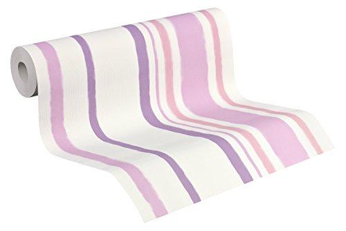 Esprit Home Stockholm 941432 - Carta da parati, a righe, colore: bianco segnale, lilla rossastro, viola pastello,