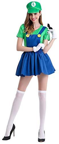 5ALL Halloween Deko Kostüme Super Mario Luigi Mütze + Kleid + Bart + Handschuhe - Kostüm-Set für Damen - Perfekt für Party Karneval Cosplay
