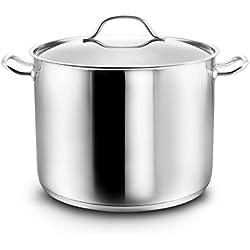 Kopf Gigantos - Grand pot en inox avec couvercle, Ø 26 cm, hauteur de 19 cm, 9.5 litres convient à induction