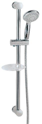 AquaSu - Duschset Barca, Duschgarnitur mit 5-fach verstellbarer Handbrause, Seifenschale, Chrom