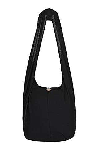 THAI HIPPIE BAG - 100% COTTON BOHO GYPSY SLING PURSE - BOHEMIAN TRAVEL SHOULDER BAG (Black)